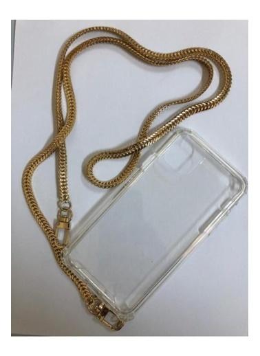 marstec Marstec iPhone 11 Şeffaf Boyun Askılı Altın Zincir Telefon Kılıfı Renksiz